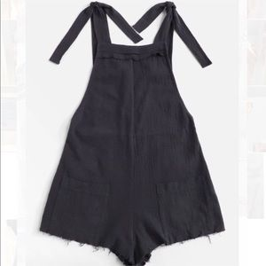 Gray/Blue Raw Hem Pinafore/Romper